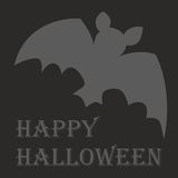 Happy Halloween vector card with bat and wishes Royalty Free Stock Photo