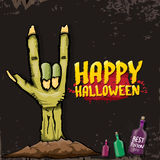 Happy halloween vector card with zombie hand. Stock Images