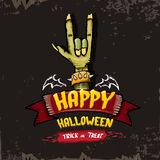 Happy halloween vector card with zombie hand. Stock Photos