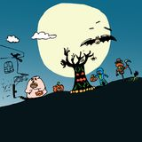 Happy Halloween in vector concept doddle. Royalty Free Stock Photo