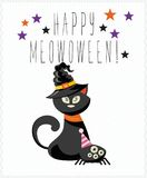 Happy Halloween vector greeting card with halloween black cat. Happy Halloween vector greeting card with halloween cat in flat design Stock Photo