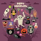 Happy Halloween vector greeting card with halloween icons. Dark background. Happy Halloween vector greeting card with halloween icons in flat dark design. Set Royalty Free Stock Images
