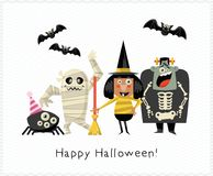 Happy Halloween vector greeting card with halloween monsters on light background. Happy Halloween vector greeting card with halloween monsters in flat light Stock Image