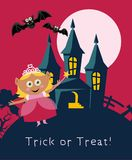 Happy Halloween vector greeting card with halloween princess. In flat pink design Royalty Free Stock Image