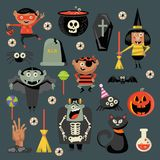 Happy Halloween vector greeting card with halloween icons. In flat design. Set Royalty Free Stock Images