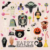 Happy Halloween vector greeting card with halloween icons. Light background. Happy Halloween vector greeting card with halloween icons in flat light design. Set Stock Photography
