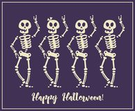 Happy Halloween vector greeting card with halloween monsters Stock Image