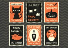 Happy halloween vector greeting card set. Royalty Free Stock Photo