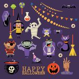 Happy Halloween vector greeting card. Set. Trick or treat. Happy Halloween vector greeting card with halloween icons. Trick or treat. Set Royalty Free Stock Photos