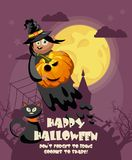 Happy Halloween vector greeting card with spooky Jack-o-lantern Royalty Free Stock Photo