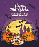 Happy Halloween vector greeting card with spooky Jack-o-lanterns and big moon. Happy Halloween vector greeting card with spooky Jack-o-lanterns. Party poster Royalty Free Stock Images
