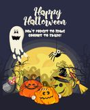 Happy Halloween vector greeting card with spooky Jack-o-lanterns. And ghost Royalty Free Stock Photography