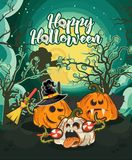 Happy Halloween vector greeting card with spooky Jack-o-lanterns on scary meadow. Happy Halloween vector greeting card with spooky Jack-o-lanterns on scary dark Royalty Free Stock Photography