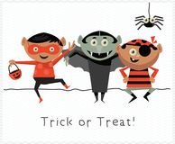 Happy Halloween vector greeting card. Trick or treat. Happy Halloween vector greeting card with halloween kids. Trick or treat Stock Photo