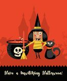 Happy Halloween vector greeting card with halloween witch. And black cat in flat design Royalty Free Stock Images