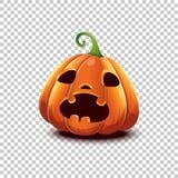 Happy Halloween. Vector Halloween pumpkin in cartoon style. Scared face Halloween pumpkin isolated on transparent stock photos