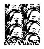 Happy halloween. Vector hand drawn illustration of girl with bleeding eyes in crowd . stock illustration