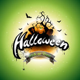 Happy Halloween vector illustration with bats, cemetery and moon on green background. Holiday design for greting card, poster or p Royalty Free Stock Photos
