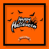 Happy Halloween vector illustration with bats and cemetery on orange background. Holiday design for greting card, poster or party Stock Photo