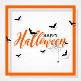 Happy Halloween vector illustration with bats  and spider on black background. Holiday design for greting card, poster or party in Royalty Free Stock Photo