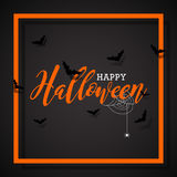 Happy Halloween vector illustration with bats  and spider on black background. Holiday design for greting card, poster or party in Stock Image