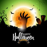 Happy Halloween vector illustration with bats, zombie hand and moon on green background. Holiday design for greting card, poster o Stock Images