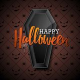 Happy Halloween vector illustration with black coffin on dark background. Holiday design with spiders and bats for Royalty Free Stock Photography