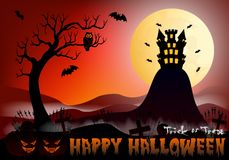 Happy Halloween vector illustration with castle, pumpkin, bat, castle, tree and cemetery Royalty Free Stock Photos