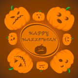Happy Halloween. Vector illustration for celebration. Poster, postcard, banner, background. Happy Halloween. Postcard with pumpkins for Halloween Vector Illustration