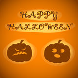 Happy Halloween. Vector illustration for celebration. Poster, postcard, banner, background. Happy Halloween. Two pumpkins looking at each other Vector Illustration