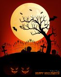 Happy halloween vector illustration with cemetery, full moon, pumpkin and bat Royalty Free Stock Photo