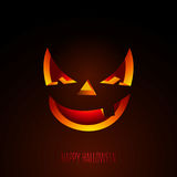 Happy Halloween vector illustration with creepy pumpkin face on dark background. Holiday design for greting card, poster or party Stock Photography
