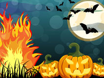 Happy Halloween. Vector illustration of glowing halloween pumpkins on an abstract background Stock Image