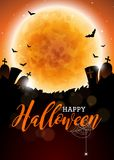 Happy Halloween vector illustration with moon and cemetery on dark background. Holiday design with spiders and bats for Stock Photography