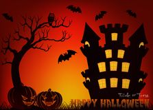 Happy Halloween vector illustration with pumpkin, bat, castle, tree and cemetery Royalty Free Stock Image