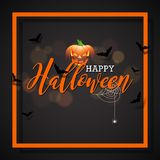 Happy Halloween vector illustration with pumpkin on black background. Holiday design with spiders and bats for greeting Royalty Free Stock Photos