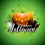 Happy Halloween vector illustration with pumpkin and cemetery on green sky background. Holiday design with spiders and Royalty Free Stock Photos