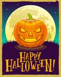 Happy Halloween Vector illustration of a pumpkin lantern with text stock illustration