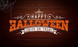 Happy Halloween vector illustration with typography lettering, spider and cobweb on vintage wood background. Holiday. Design for greeting card, banner royalty free illustration