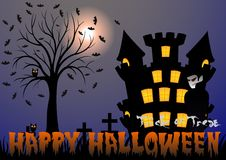 Happy Halloween vector illustration with vampire, bat, castle, tree and cemetery Stock Image