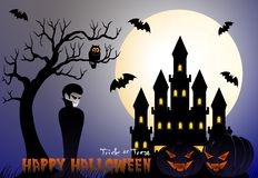 Happy Halloween vector illustration with vampire, pumpkin, bat, castle, tree and cemetery Royalty Free Stock Images