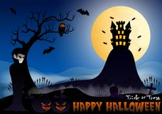 Happy Halloween vector illustration with vampire, pumpkin, bat, castle, tree and cemetery Royalty Free Stock Photos