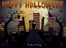 Happy Halloween vector illustration with vampire, pumpkin, bat, castle, tree and cemetery Stock Image