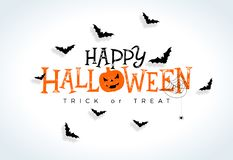 Free Happy Halloween Vector Illustration With Typography Lettering, Flying Bats And Spider On White Background. Holiday Stock Photos - 127018463