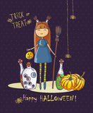 Happy Halloween vector invitation card with cute witch and pumpkins Stock Image