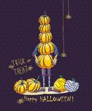 Happy Halloween vector invitation card with man and pumpkins Stock Images