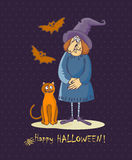 Happy Halloween vector invitation card with old witch, bats and cat Stock Photos