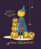Happy Halloween vector invitation card with pumpkin witch Stock Photo
