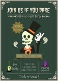 Happy halloween vector invitation card with skull character .. Royalty Free Stock Photography