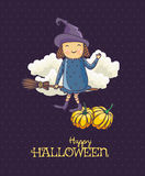 Happy Halloween vector invitation card with witch on broomstick Stock Photos